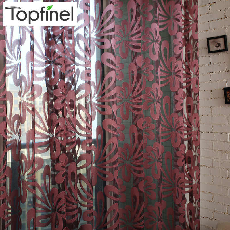 Topfinel luxury shade geometric tulle for windows sheer curtains for living room bedroom kitchen blinds voile curtain fabric