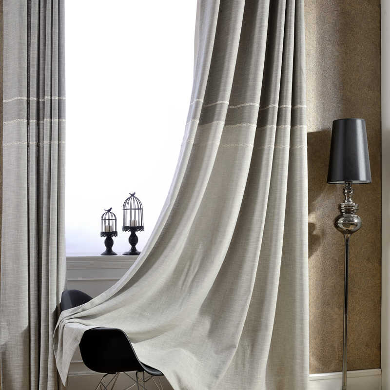 Japan Style Thick Faux Linen Jacquard Curtains for Living Room for Bedroom Window Modern Curtains Custom Made