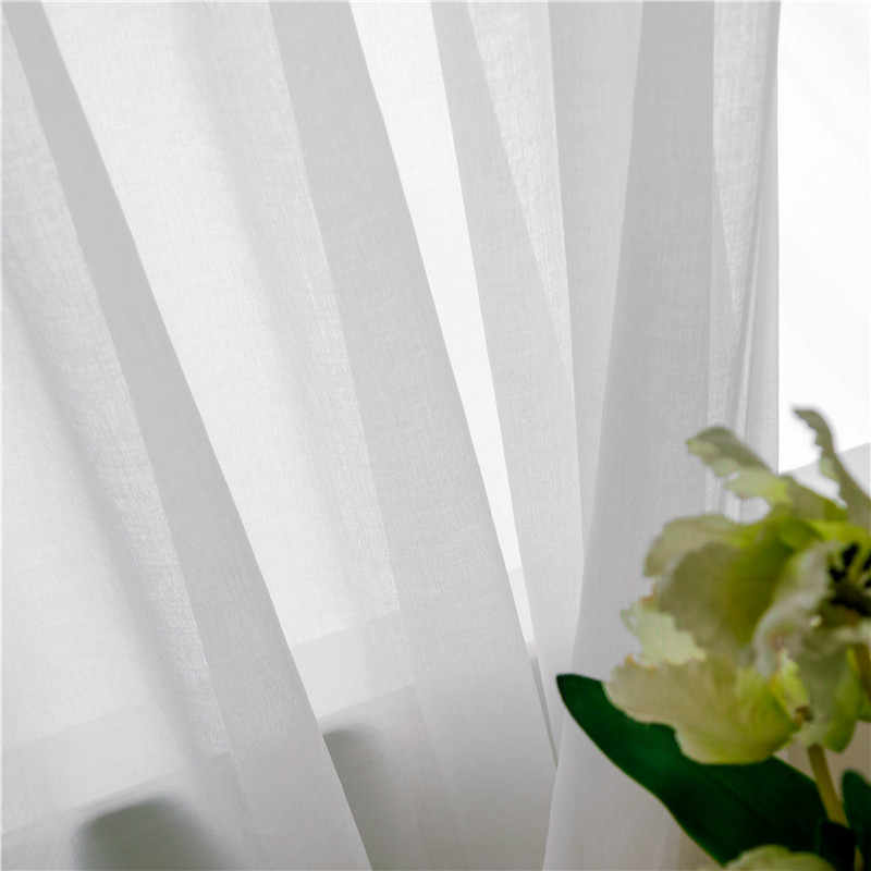 CITYINCITY  Soft White Tulle Curtains For Living room Japan style Voile Sheer Window Curtain for bedroom Dinning room Customized