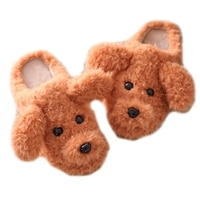 Zapatillas de casa de felpa con perro de peluche 3D para mujer, pantuflas gruesas, peludas, cálidas y antideslizantes con dibujos animados, zapatos para el hogar