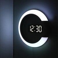 3D LED 디지털 벽시계 알람 거울 중공 시계 테이블 시계 7 색 온도 야간 조명, 홈 거실 장식