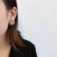 AENSOA eleganckie wykwintne metalowe kwiaty stadniny kolczyki dla kobiet 2021 nowy unikalny projekt biżuteria luksusowe Party Gir niezwykłe kolczyki