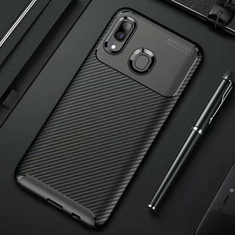 Funda de fibra de carbono A prueba de golpes para Samsung Galaxy A20e, A20, A30, A40, 20 e, 30, 40, mate