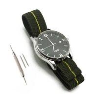 녹색/노란색 20mm 22mm 프랑스 군대 낙하산 가방 시계 밴드 나토 탄성 나일론 벨트 시계 스트랩 팔찌 군사 시계 밴드