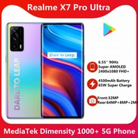 Original Realme X7 Pro Ultra 8G 128G 5G SmartPhone 6.55 ''90Hz Super AMOLED 2400x1080 FHD + Bildschirm 4500mAh 65W Super Ladung 64MP