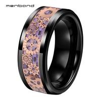 Black Tungsten Wedding Band Men Women Ring With Purple Carbon Fiber Rose Mechanical Gear Wheel Inlay 8MM Comfort Fit