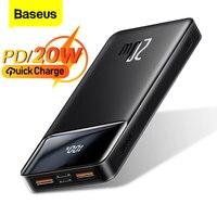 Baseus-powerbank portátil para carregamento, 20000mah, pd 20w, bateria externa, carregamento rápido para iphone 12, xiaomi