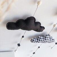 북유럽 스타일 귀여운 펠트 구름 모양 벽 매달려 장식 나무 스틱 펜던트 아이 방 장식 사진 소품