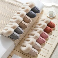 2021 New Women Indoor Slippers Warm Plush Home Slipper Anti Slip Autumn Winter Shoes House Floor Soft Slient Slides Men Shoes