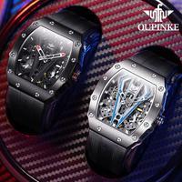 OUPINKE Skeleton Watches Mechanical Automatic Watch Men Sapphire Sport Clock Brand Luxury Fashion Wrist Watch Men Relojes Hombre