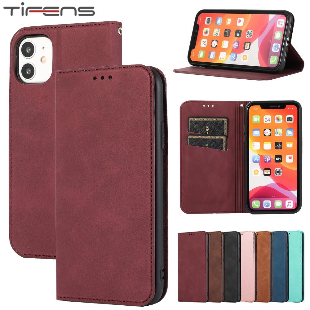 De lujo de cuero Flip caso para iPhone 12 Mini 11 Pro X XR XS Max SE 2020 8 7 6 6s Plus funda magnética de la tarjeta titular del teléfono bolsas de Coque