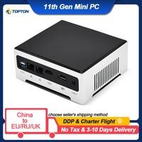 TOPTON 11th Gen Mini PC Gaming Computer Intel i7 1165G7 i9 10880H 2 * DDR4 2 * M.2 SSD 2 * LAN Desktop Nuc Windows 10 Pro 4K TV Box