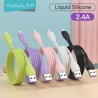 KUULAA USB Ladegerät Kabel Blitz USB Kabel Für iPhone 12 11 Pro Max X XS XR 8 iPad Ladekabel flüssigkeit Silikon Ladegerät Kabel