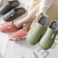 Akexiya 2021 Waterproof Non-Slip Winter Men Women Home Slippers Warm Fur Cotton House Slippers Indoor Memory Foam Couples Shoes