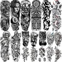 Full Arm Temporary Tattoos Sleeve For Men Women Realistic Fake Tatoos Warrior Lion Tiger Flower Tatoo Sticker Black Totem Maori