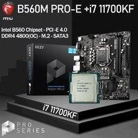 LGA 1200 MSI B560M PRO-E Motherboard Set + Intel Core i7 11700KF Combo DDR4 4800MHz(OC) m.2 PCI-E 4,0 B560 Placa-mãe Desktop B560