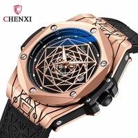 Luksusowe różowe złoto zegarki męskie wyjątkowy Top marka CHENXI Fashion Casual skórzany męski zegarek kwarcowy prezent świąteczny zegar