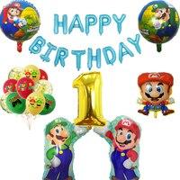 8pcs Cartoons Super Mary Mario Balloon Set Mario Luigi brothers Game theme Children's birthday party decorations Balloon toy