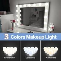 3 가지 모드 색상 메이크업 거울 조명 Led 터치 밝기 조절 화장대 드레싱 테이블 램프 전구, USB 12V 할리우드 메이크업 거울 벽 램프