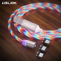 USLION 3 في 1 التوصيل المغناطيسي LED الإضاءة كابل شحن سريع نوع C كابل مايكرو USB شاحن الحبل سلك آيفون سامسونج هواوي