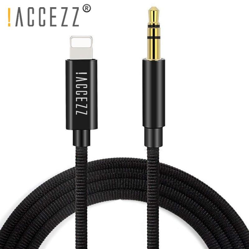 ¡! ACCEZZ-Cable de Audio para coche, Conector de 3,5mm, adaptador de auriculares, reproductor de DVD, AUX, divisor, 1M, para iphone 7, 8, 6, X, XS, MAX, XR Plus