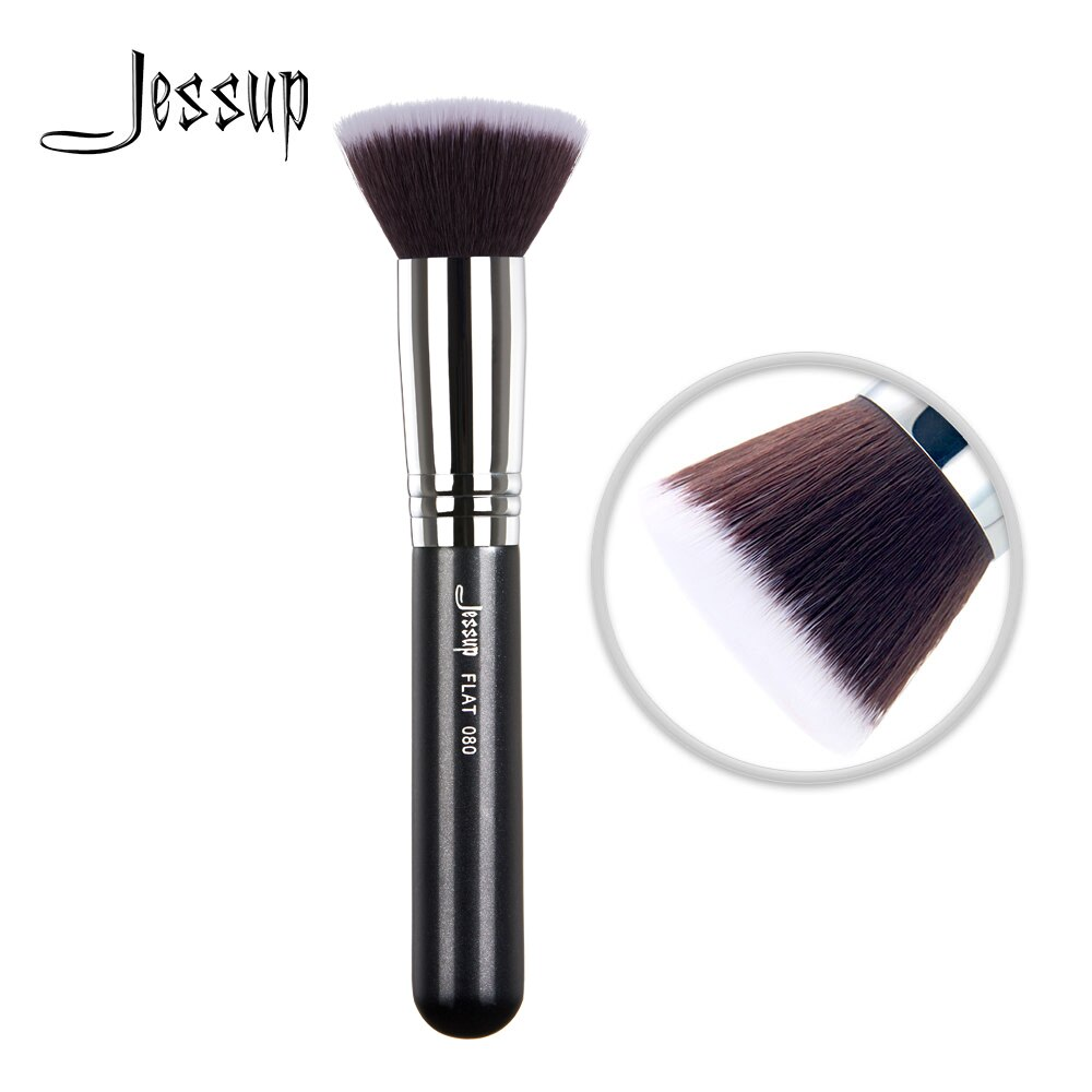 Jessup-brochas faciales para maquillaje, pinceles planos para mezclar, crema líquida, pelo sintético, 080