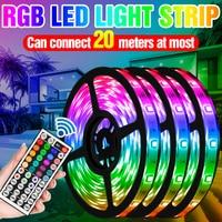 RGB LED Strip Light 5050 SMD Waterproof Flexible Strip Lamp DC12V Ribbon Tape 5M 10M 15M 20M Fita LED Tape Diode US EU UK Plug