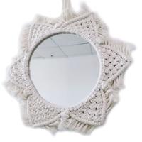 P8DE 벽걸이 거울 보헤미안 마크라메 수제 메이크업 거울 Boho 장식 아파트 침실 장식