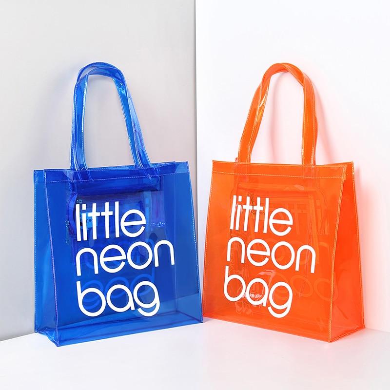 Frauen Schulter Tasche Shopping Tote Multi-Funktion Transparent Candy Farbe Gelee Transparent Strand Reise Griff Messenger Taschen