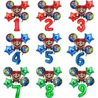 Super Mary Mario balloon Cartoons Birthday party aluminum balloons Game theme Children's birthday party decoration balloon set