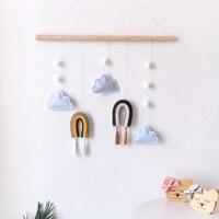 북유럽 스타일 귀여운 펠트 구름 모양 벽 매달려 장식 나무 스틱 술 펜던트 키즈 룸 장식 사진 소품 l