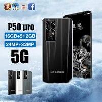 Günstigstes Smartphone P50 Pro 16GB + 512GB 5,5 Zoll Full Screen Smartphone 24MP + 32MP Kamera 5000mAh Handy Globale Version