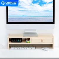 ORICO עץ צג Stand Riser מחשב אוניברסלי שולחן עבודה מדף מחזיק סוגר עם מגירות מקלדת אחסון ארגונית עבור מחשב