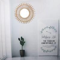 태양 모양 장식 거울 등나무 혁신적인 예술 장식 라운드 화장 거울