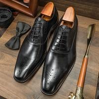 Hanmce Luxury Men Oxfords Wedding Dress Genuine Leather Shoes