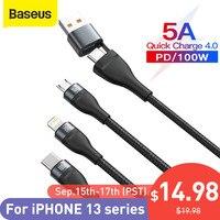 Baseus 100W 3 in 1 USB Kabel für iPhone Ladegerät Kabel Micro USB Typ C Kabel für Macbook Pro samsung Huawei Xiaomi Kabel