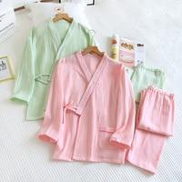 Primavera/otoño conjunto de pijamas de las mujeres de algodón puro Crepe largo Kimono con mangas de mujer ropa de dormir suelta cómoda suave traje de dos piezas de Homewear