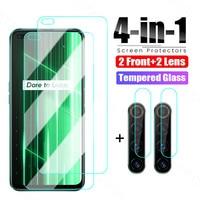 4 in 1 Gehärtetem Glas Für Realme X50 X7 X2 Pro X XT X3 Schutz Glas Für Realme GT Neo c15 C21 C11 C3 C3i Objektiv Glas Film