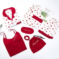 JULY'S SONG Viscose Soft Pajamas 7 PCS Women's Pajamas Shirts Long Pants Women Sleepwear Spring Summer Love Printed Homewear