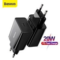 Baseus 20W Quick Charge QC 3,0 PD USB Typ C Schnelle Lade Ladegerät für iPhone 12 X Xs 8 xiaomi Samsung Telefon PD Ladegerät