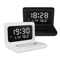 Drahtlose Ladegerät Digitale Wecker 10W Qi Schnelle Lade Pad Desktop Home Decor Thermometer Kalender Für iPhone Samsung