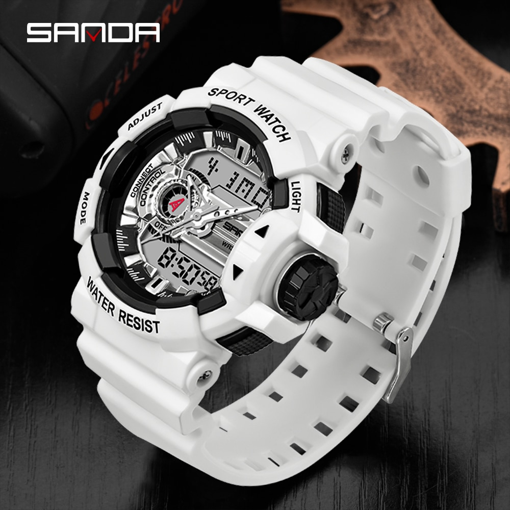 Sanda-reloj deportivo Digital para hombre, cronómetro Masculino, resistente al agua, LED, 3ATM, 599
