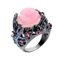 Vintage Black Tungsten Ring Peony Rose Flower Tree Vine Lizard Handmade Jewelry Resin Crystal Beaded Rainbow Ring