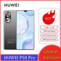Hauwei P50 Pro Smartphone Globale Version Handys Android 10,0 6,7 HDinch 16GB + 512GB 6000mAh Smart telefon Handy