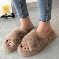 2021 Winter Women House Furry Slippers Fashion Faux Fur Warm Comfortable Women Flats Female Home Slides Black Plush Slippers