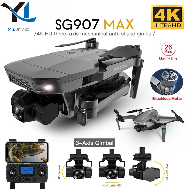 Dron SG907 MAX 5G Wifi 4K HD 3 ejes, cámara cardán compatible con TF gran angular FPV sin escobillas RC Quadcopter SG906 PRO 2, 2021