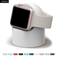 URVOI-홀더 애플 시계 시리즈 6 SE 5 4 3 21 스탠드, watchOS Nightstand keeper 실리콘 홈 충전 도크 iWatch modern