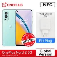 OnePlus Nord 2 5G 스마트 폰 글로벌 버전 EU 8GB 128GB MTk 치수 1200-AI 50MP AI 카메라 OIS Warp Charge 65 4500mAh 배터리
