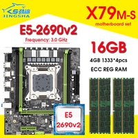 X79 motherboard set mit LGA2011 combos Xeon Prozessor E5 2690 V2 CPU 4 stücke x 4GB = 16GB speicher DDR3 ECC RAM 1333Mhz NVME M.2 slot