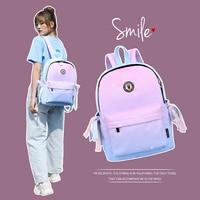 SenkeyStyle School Bags for Teenager Girls Gradient Preppy Style Student's School Backpacks Women Traveling Backpacking 2021